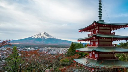 Wall Mural - 4K motion Time lapse of mount Fuji and Chureito Pagoda at sunrise in autumn. Chureito pagoda is located in Fujiyoshida, Japan. Mount Fuji or Fuji san is the most famous natural landmark in Japan.