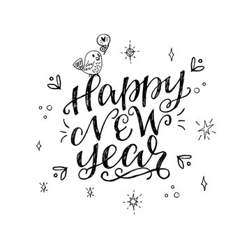 Happy new year hand lettering inscription