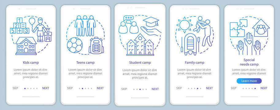 Children camps onboarding mobile app page screen vector template. Kids and family holiday. Walkthrough website steps with linear illustrations. UX, UI, GUI smartphone interface concept