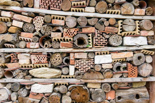 Insect hotel made of bricks, stones and wood