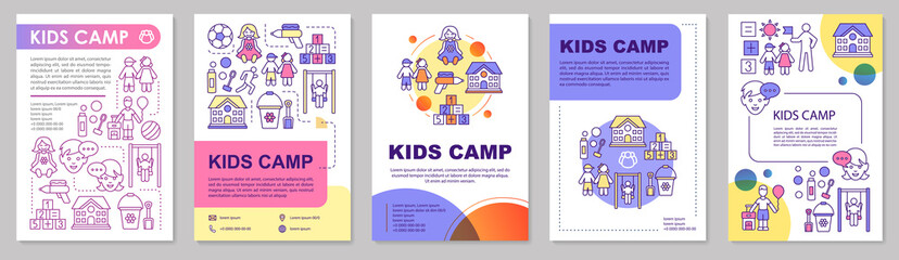 Kids, children summer camp brochure template layout. Flyer, booklet, leaflet print design with linear illustrations. Vector page layouts for magazines, annual reports, advertising posters