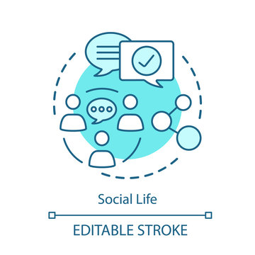 Social life relationships concept icon. Meeting people, socializing, network idea thin line illustration. Community communication, human interaction. Vector isolated outline drawing. Editable stroke
