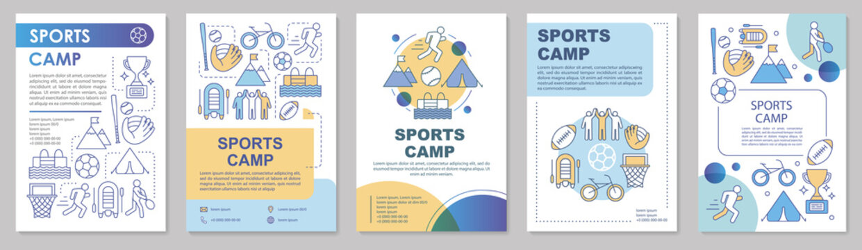 Sports camp, physical activity brochure template layout. Flyer, booklet, leaflet print design with linear illustrations. Vector page layouts for magazines, annual reports, advertising posters