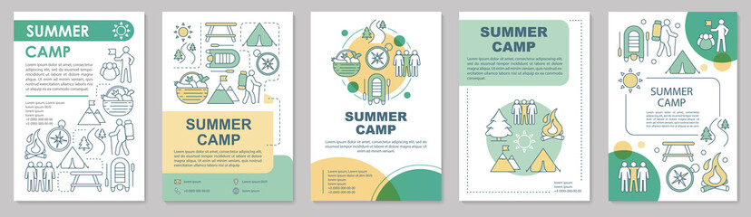 Summer camp, vacation, holiday resort brochure template layout. Flyer, booklet, leaflet print design with linear illustrations. Vector page layouts for magazines, annual reports, advertising posters