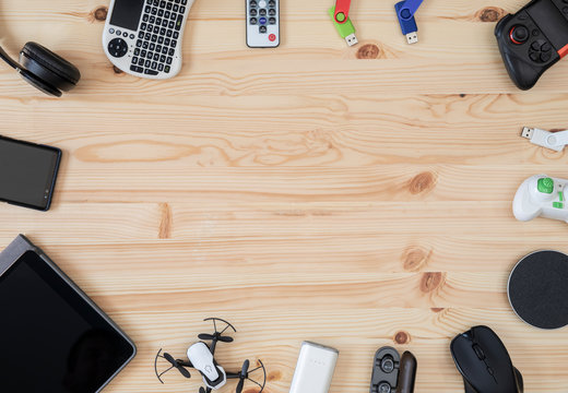 Top view Desk with technology gadgets