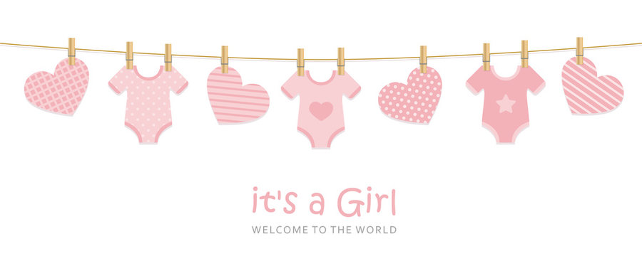 its a girl welcome greeting card for childbirth with hanging hearts and bodysuits vector illustration EPS10