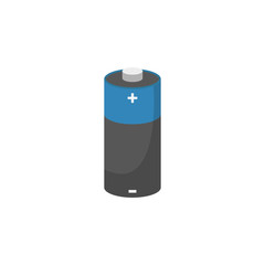 energy flat isometric flat battery on a white background