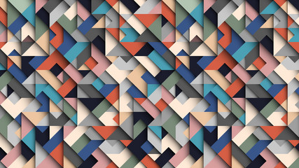 Abstract colorful geometric  background, 3D effect, trendy colors