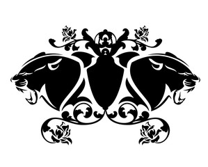 furious roaring panther heads and heraldic emblem with rose flowers - vintage style coat of arms black and white vector design