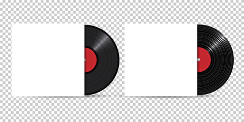 Vinyl Record with Cover Mockup, realistic style, set