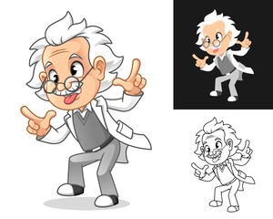 Crazy Old Man Professor with Glasses Sticking Tongue Out and Gesturing Loser Cartoon Character Design, Including Flat and Line Art Designs, Vector Illustration, in Isolated White Background.