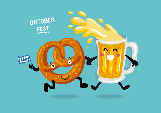 Oktoberfest- german beer festival in munich. Vintage food poster cartoon design.  Kawaii characters beer, pretzel dance. Fanny Template flat vector illustration for menu, card, print.