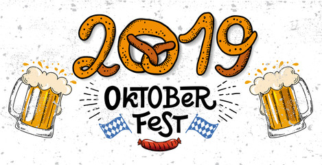 2019 Oktoberfest banner. Vector flat color illustration for German beer festival in Munich. Hand Drawn Lettering with picture of beer mug with foam, pretzel, grill sausage and Bavarian flag. Cracks ca
