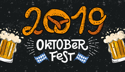 2019 Oktoberfest banner. Vector flat color illustration for German beer festival in Munich. Hand Drawn Lettering with picture of beer mug with foam, pretzel and Bavarian flag. Cracks can be removed