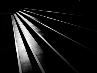 street staircase with light and shadow, black and white style Fotomurales