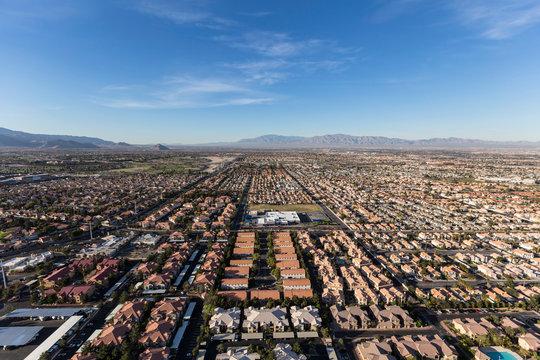 Aerial view of the suburban neighborhoods in fast growing Las Vegas, Nevada.
