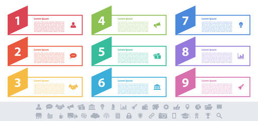 Infographic design business concept vector illustration with 9 steps or options or processes represent work flow or diagram or web button banner Fototapete