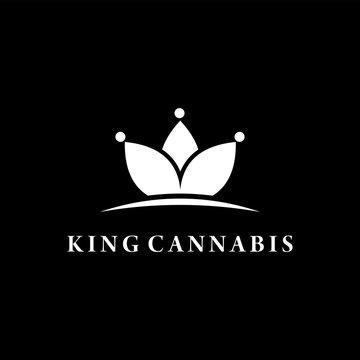 king cannabis cbd marijuana logo design vector