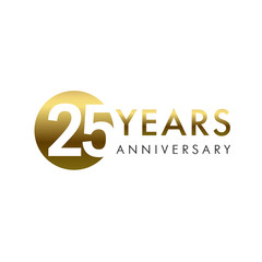 25 years anniversary vector template design illustration. 25th year anniversary gold numbers. Greetings, ribbon, celebrates. Celebrating 2nd, 5th place idea. Golden traditional digital logotype