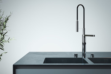 Stylish sink and water faucet tap. Interior of bright modern stylish kitchen. 3d rendering. Minimalism concept.