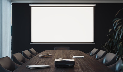 Projector screen canvas in modern conference room. 3d rendering. Wall mural
