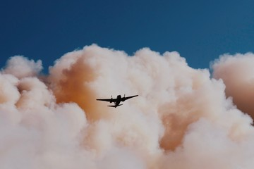 Airplane flying in forest fire smoke