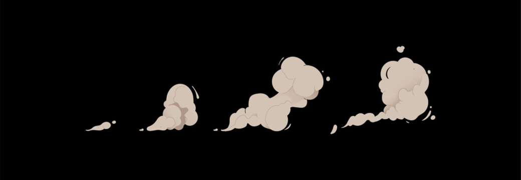 Cartoon smoke cloud set isolated on black background