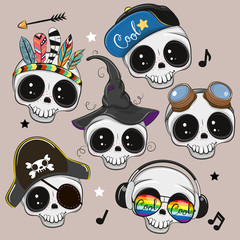Cute Cartoon skulls isilated on a brown background