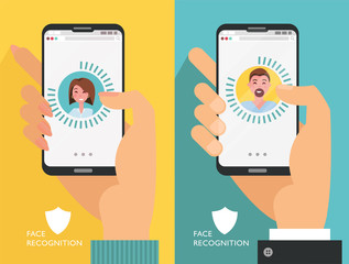 Face ID. Recognition system. Biometric identification. Face scanner. Set of Smartphones in male and femalehands. Face avatar on thephone screen with man and woman. vector illustration, flat design