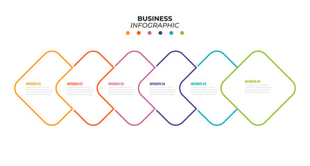 Business thin line minimal element for infographic. Timeline with 6 steps, options. Template for presentation. Vector illustration.