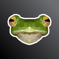 Frog face sticker. Adapted for printing. Low poly design. Vector, EPS 10