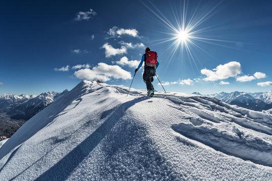 Splitboarding in the mountain