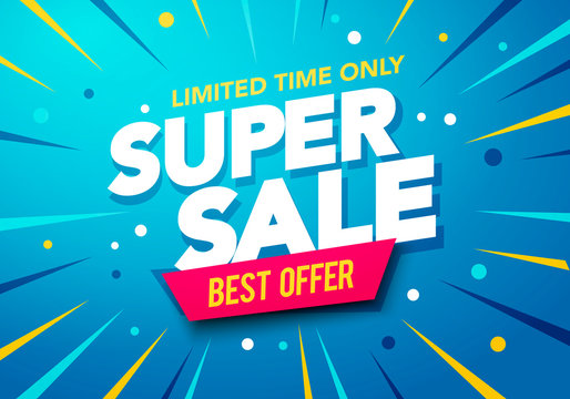 Vector illustration Sale banner template design, Big sale special up to 80% off. Super Sale, end of season special offer banner.
