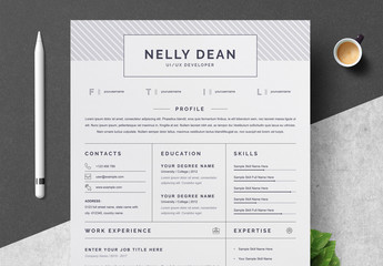 Resume and Cover Letter Layout with Gray Patterned Header Element