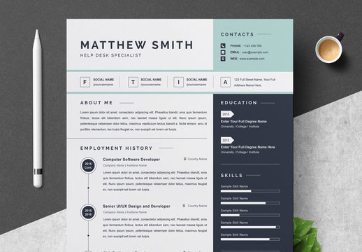 Resume and Cover Letter Layout with Blue Sidebar and Accents