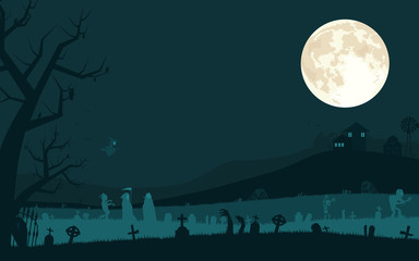 Halloween background with vampire, grim reaper, zombies and witch in graveyard and the full moon. Vector illustration.
