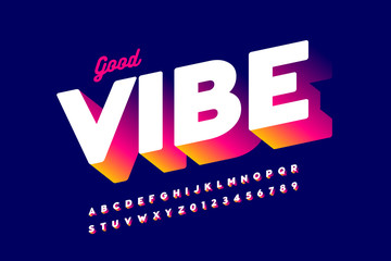 Poster Positive Typography Bright style font design, alphabet letters and numbers