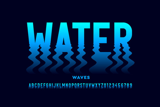 Water waves style font design, ripple effect alphabet letters and numbers