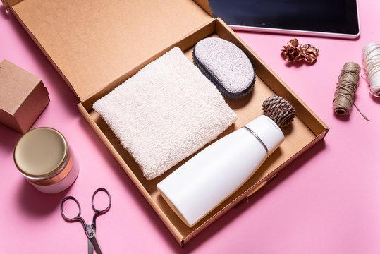 Brown carton box, Beauty Subscription Box