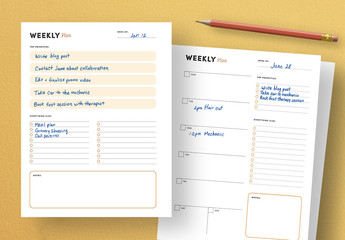 Weekly Agenda for DIY Planner with Margins