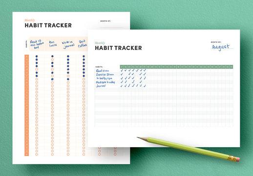 Monthly Habit Tracker Layouts