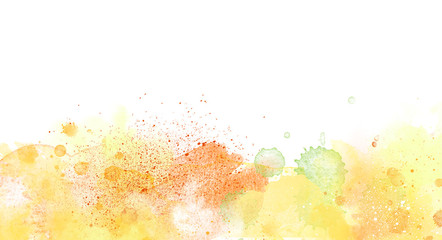 Watercolor border isolated on white, yellow orange  colors artistic background