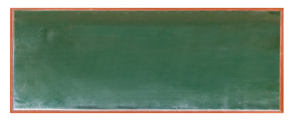 Empty green chalkboard texture hang on the white wall. double frame from greenboard and white background. image for background, wallpaper and copy space. bill board wood frame for add text.