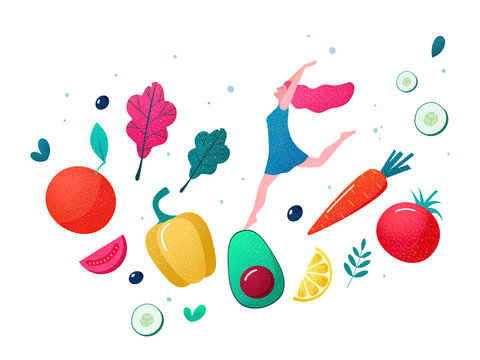 Concept of healthy eating, lifestyle vector illustration.