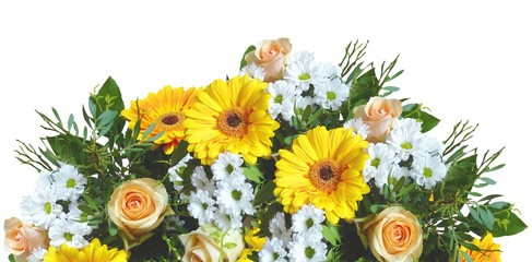 closeup of colorful spring flowers bouquet isolated on white background. yellow roses, gerbera