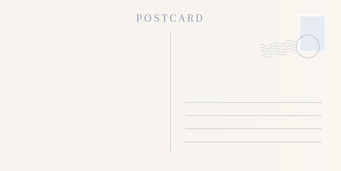 Blank template of a backside of travel postcard.