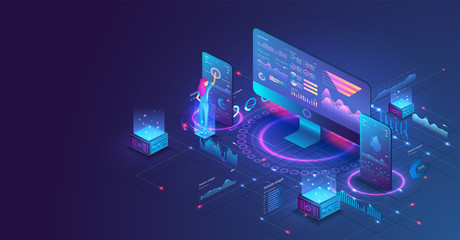 The woman interacting with the statistical analysis and diagram. Data analysis in isometric vector design. Network mainframe infrastructure website layout. Data visualization concept. Trends 3D vector