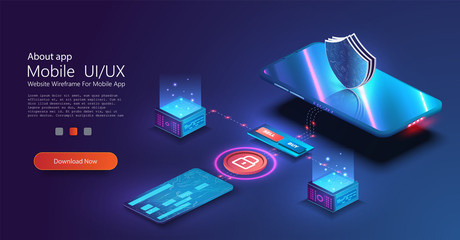 Isometric online payment online concept. Money transfers, smartphone payment services and digital pay. Credit card contactless terminals, protection money transfer, online bank. Vector illustration