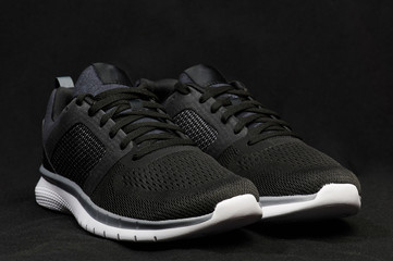 Angle view of modern dark shoes