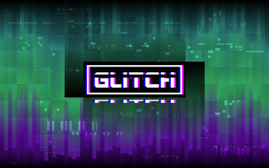 Glitch concept. Purple and green distortion with stereo effect text. Abstract vertical lines. Random color pixels. Digital signal problem. Dynamic mosaic with gradients. Vector illustration